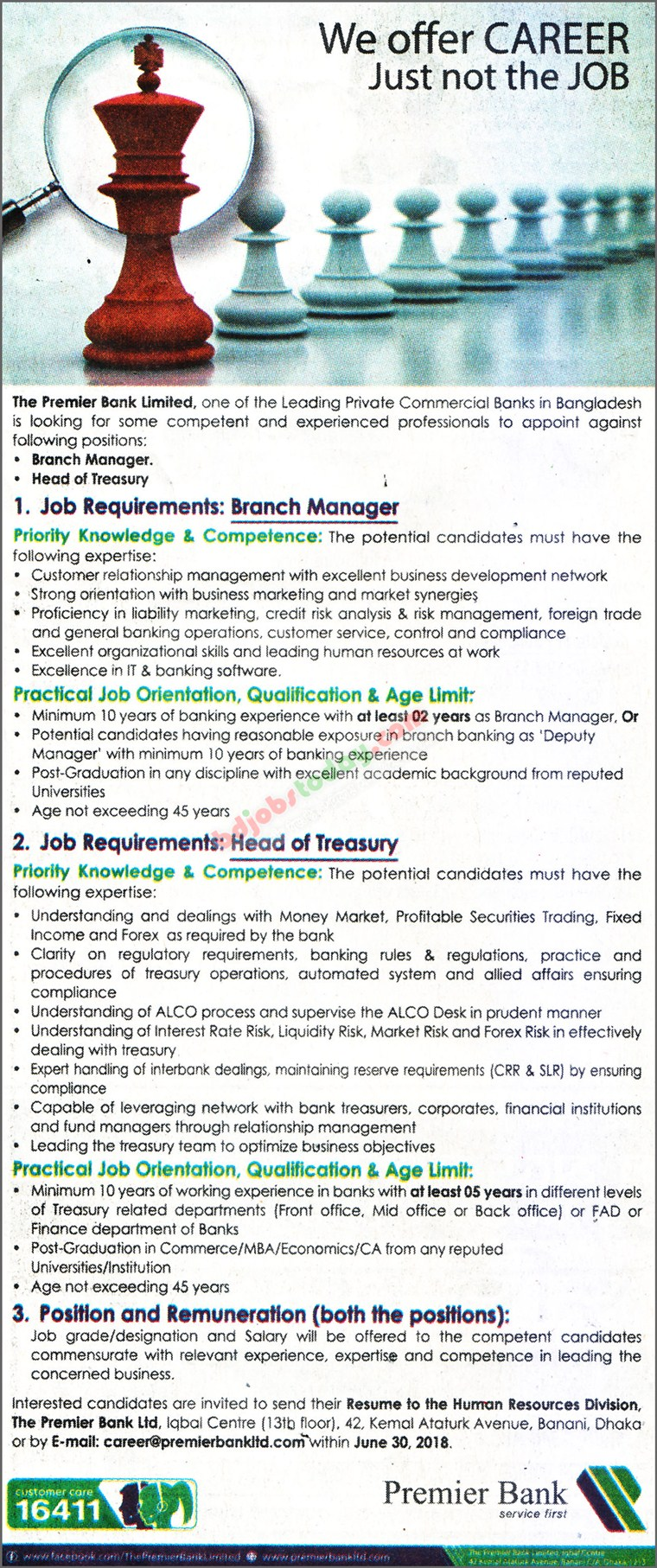 The Premier Bank Limited jobs