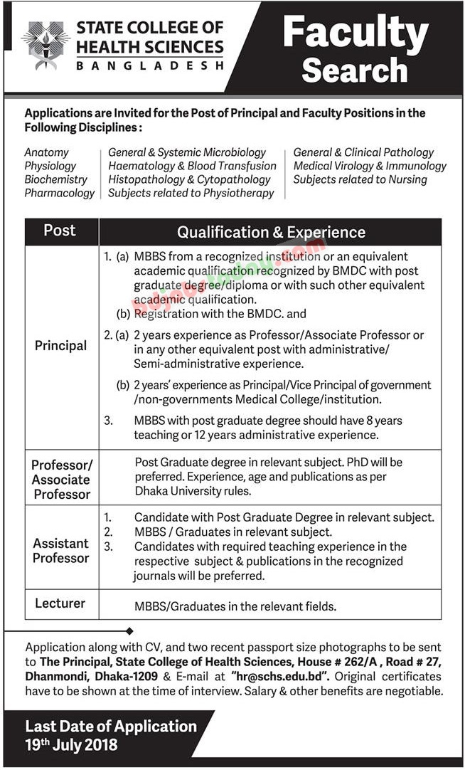 State College of Health Sciences Bangladesh jobs