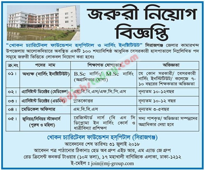 Khokon Charitable Foundation Hospital and Nursing Institute jobs