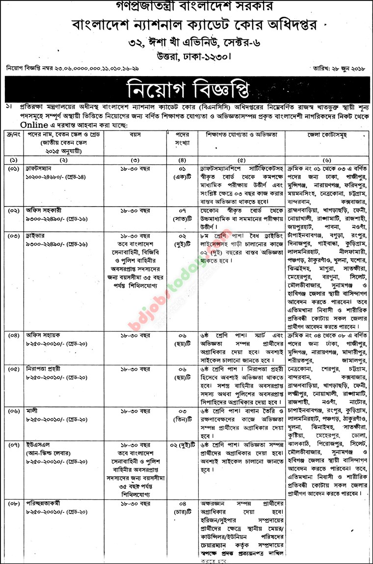 Bangladesh National Cadet Core jobs