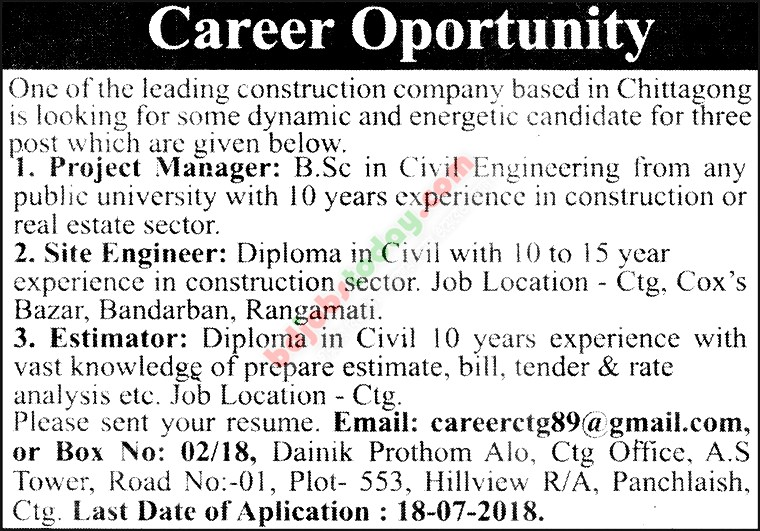 A Leading Construction Company jobs
