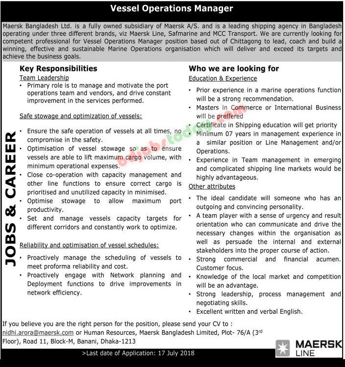 Maersk Bangladesh limited jobs