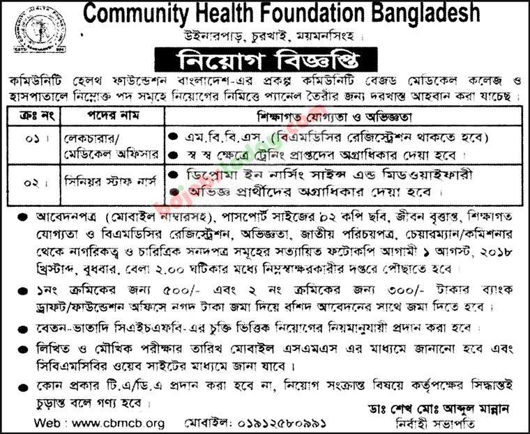 Community Health Foundation Bangladesh jobs