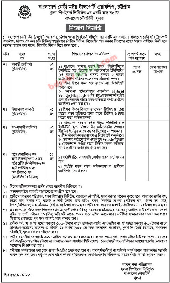 Bangladesh Navy Motor Transport Workshop, Chattagram jobs