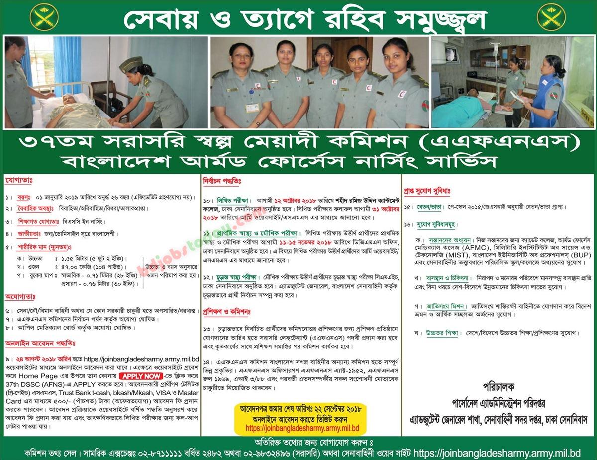 37th Armed Forces Nursing Service (AFNS) Job Bangladesh : Mobile Version