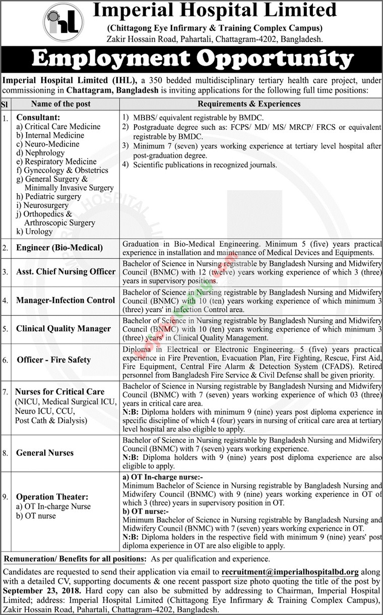 Imperial Hospital Limited (IHL) jobs