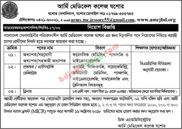 Army Medical College, Jessore jobs