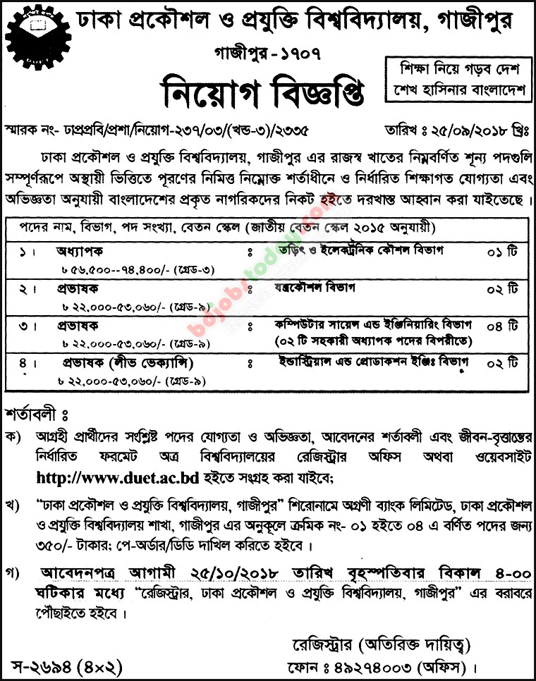 Dhaka University of Engineering and Technology -DUET jobs
