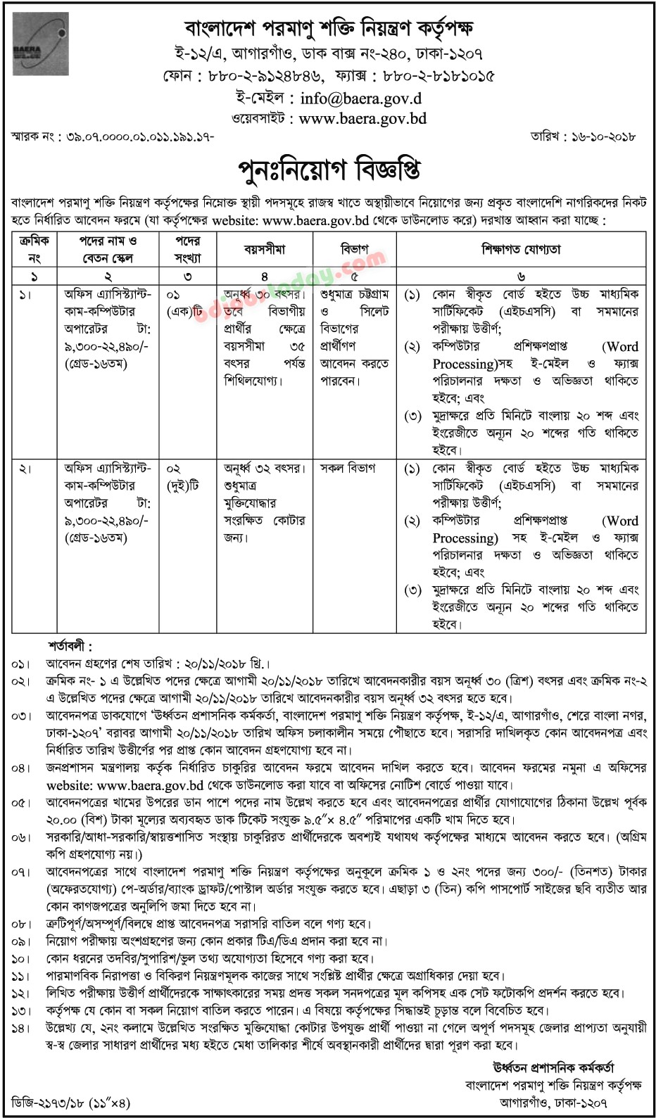 Bangladesh Atomic Energy Regulatory Authority (BAERA) jobs