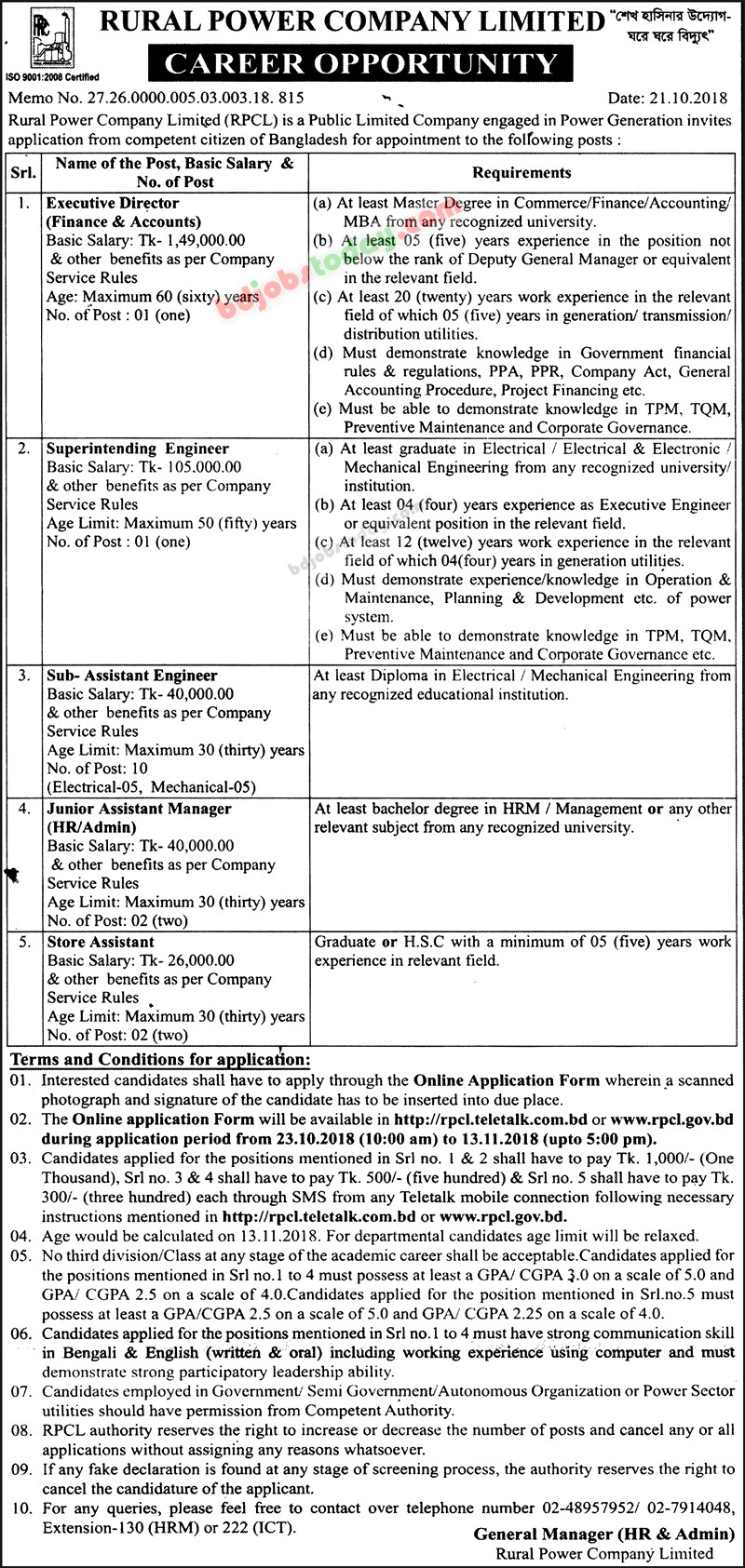 Rural Power Company Limited (RPCL) jobs