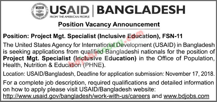 USAID Bangladesh jobs
